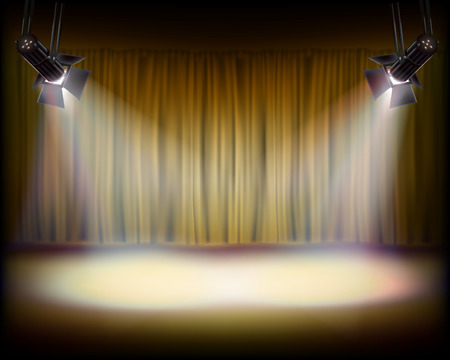 The Stage with golden curtain. Illustration