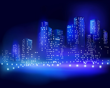 tower block: Skyscrapers at night. illustration