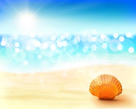 mexico beach: Sunny beach. Illustration.