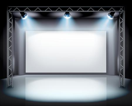Spotlights on the stage illustration. Stock Illustratie