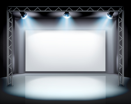 empty stage: Spotlights on the stage illustration. Illustration