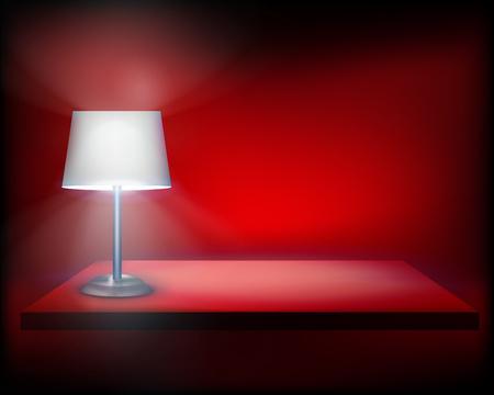 standing lamp: Standing lamp on the shelf illustration.