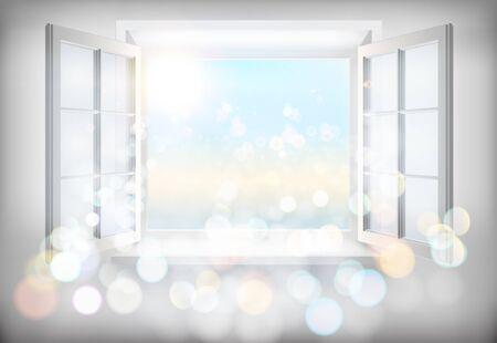 Ilustración ventana abierta. Foto de archivo - 59133890