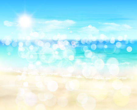 sunny beach: View on a sunny beach Illustration. Illustration