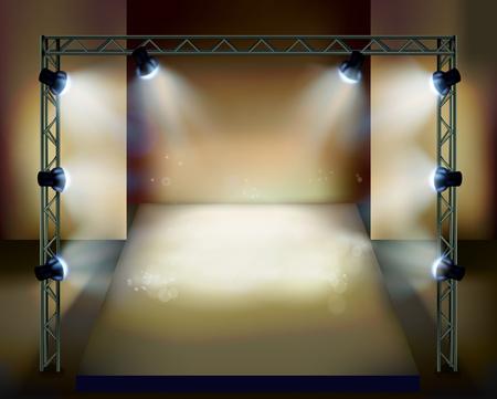 spot light: Presentation on the stage. Illustration
