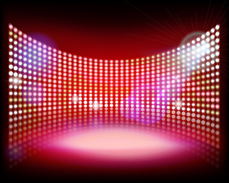 Big LED projection screen.