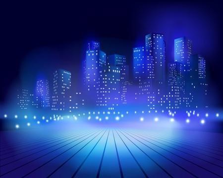 high beams: Square at night illustration