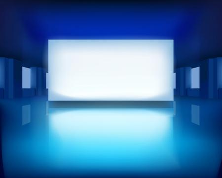 showcase interior: Illuminated picture in art gallery illustration. Illustration
