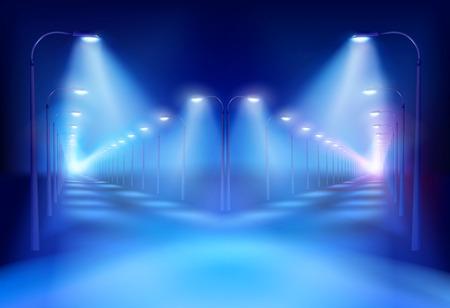 cruce de caminos: Cruce de caminos en la ilustraci�n de la noche. Vectores
