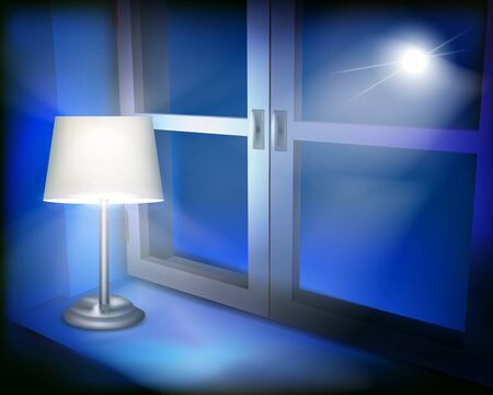 holiday lights display: Lamp in the window illustration.