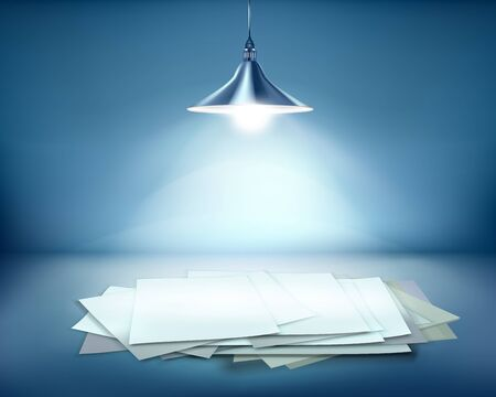 spotlight: Work place with hanging lamps illustration.