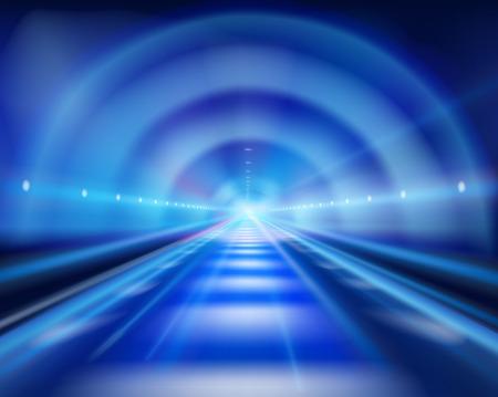 Światła: Długi tunel. ilustracji wektorowych.