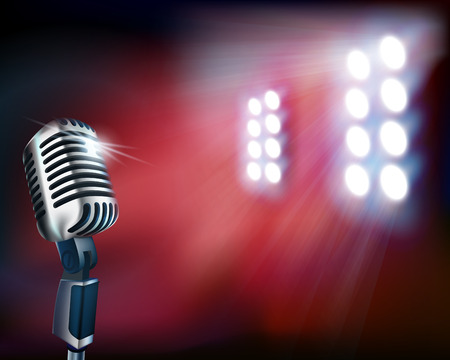 spotlight: Empty stage with microphone. Vector illustration.