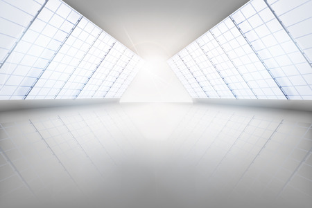 glass ceiling: Large hall. Vector illustration.