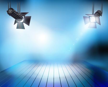 Spotlights on stage. Vector illustration.