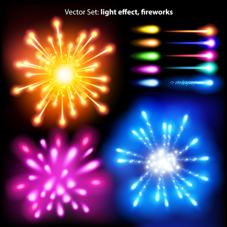 vector set: light effect, fireworks - lots of graphic elements to embellish your layout
