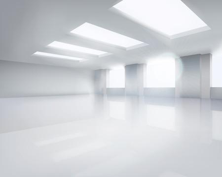 大きな空の部屋。ベクトルの図。