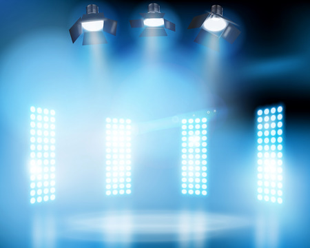 screen: Lights on the stage. Vector illustration.