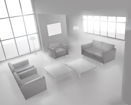 white wall: Living room. Vector illustration.