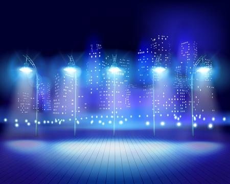 City at night. Vector illustration.