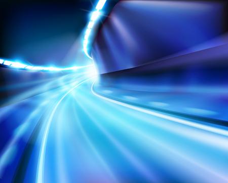 fast car: Illuminated tunnel. Vector illustration. Illustration