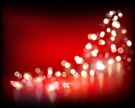 Festive lights on red background. Illustration.