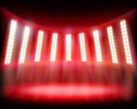 illuminated: Empty stadium. Vector illustration.