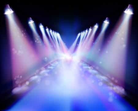 Spotlight during the performance. Vector illustration. Vettoriali