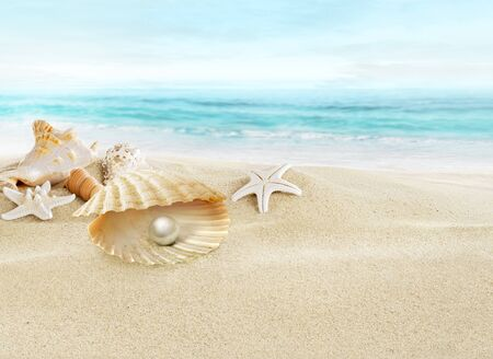 water wave: Pearl in open shell.