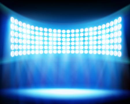 Stadium spotlights. Vector illustration. Vettoriali