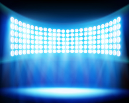 Stadion spotlights. Vector illustratie.