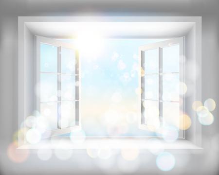 Opened window. Vector illustration. Stock Illustratie
