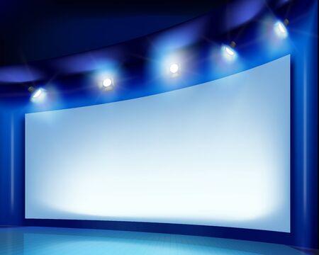 Groot scherm op het podium. Vector illustratie. Stock Illustratie