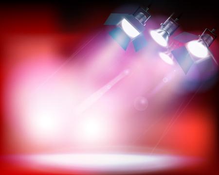 dark: Spotlights on red background. Vector illustration. Illustration