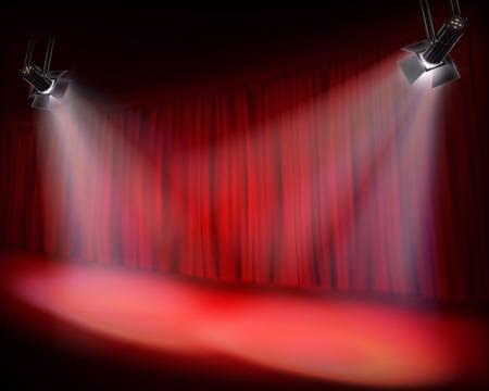Scène avec rideau rouge. Vector illustration.