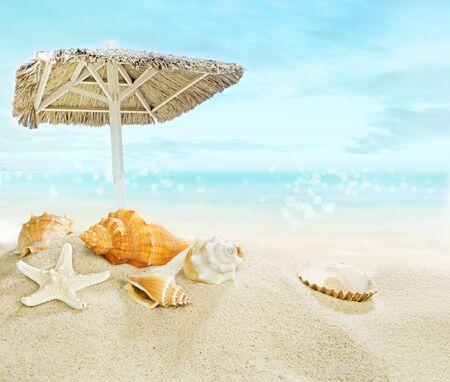 ocean waves: Umbrella on the beach.