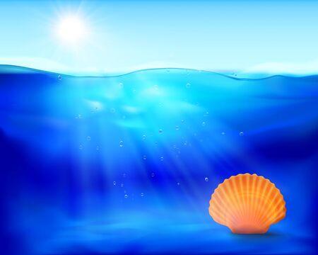 mare agitato: Shell in acqua. Illustrazione vettoriale.