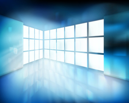 exhibit houses: Room with large window. Vector illustration.