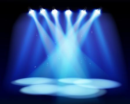 Spotlights on the stage. Vector illustration.