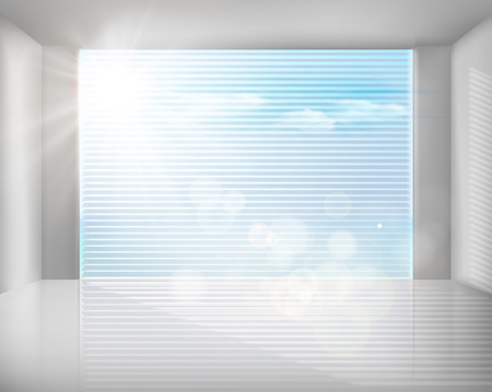 modern background: Large window with blinds. Vector illustration.