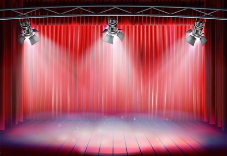 Theater stage with red curtain. Vector illustration.