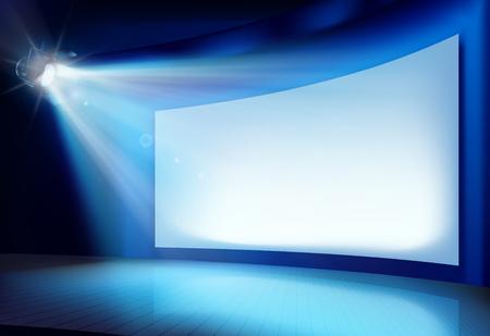 Big projection screen. Vector illustration.