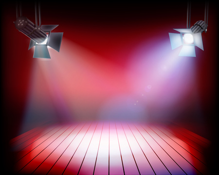 Stage during the show. Vector illustration.