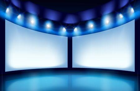 screen: Exhibit works of art in art gallery. Vector illustration.