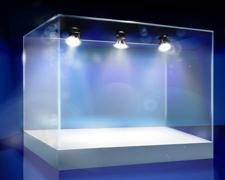 articles: Showcase in shop. Vector illustration.