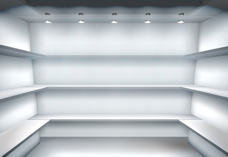 market place: Empty shelves. Vector illustration. Illustration
