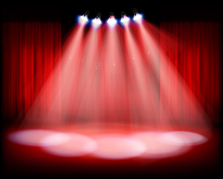 red wallpaper: Stage with red curtain. Vector illustration.