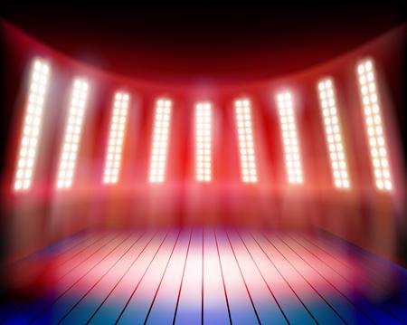 exposición: Illuminated theater stage. Vector illustration.