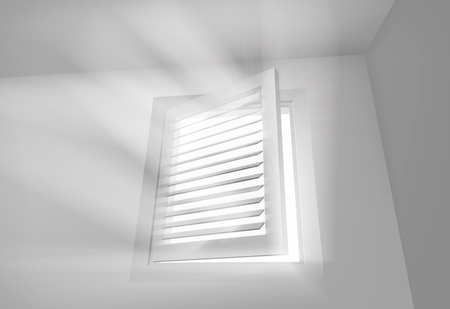 home office interior: Window with blinds. Vector illustration.