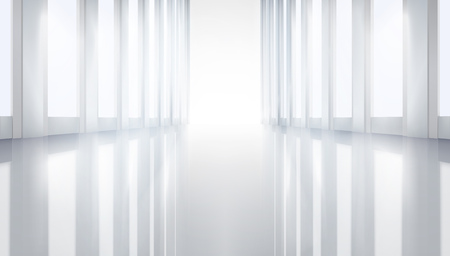 Open large hall. Vector illustration.